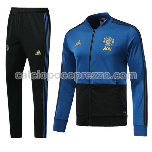giacca divisa magliette manchester united blu scuro 2018-2019 outlet